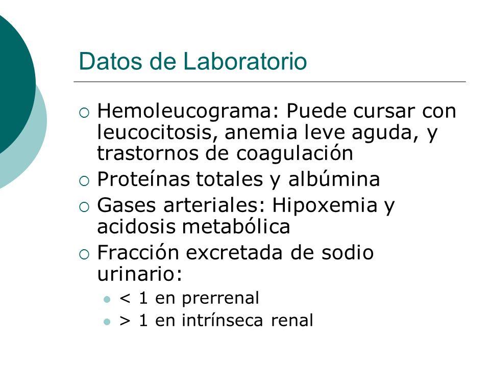 Datos de Laboratorio Hemoleucograma: Puede cursar con leucocitosis, anemia leve aguda, y trastornos de coagulación.