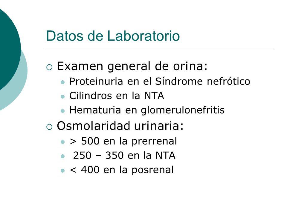 Datos de Laboratorio Examen general de orina: Osmolaridad urinaria: