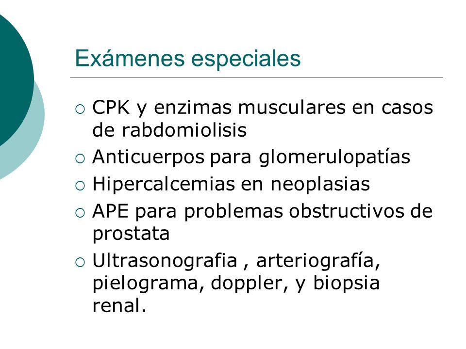 Exámenes especiales CPK y enzimas musculares en casos de rabdomiolisis