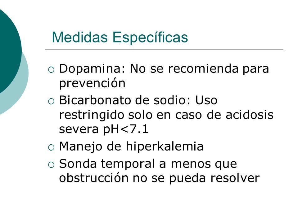 Medidas Específicas Dopamina: No se recomienda para prevención