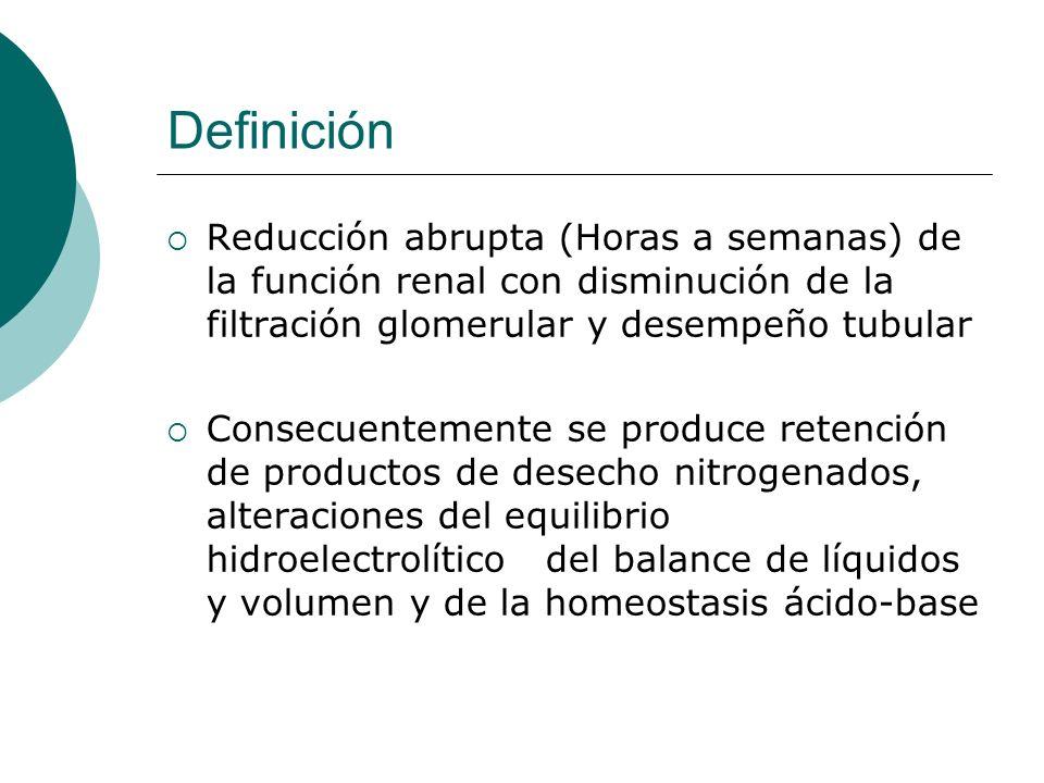 Definición Reducción abrupta (Horas a semanas) de la función renal con disminución de la filtración glomerular y desempeño tubular.