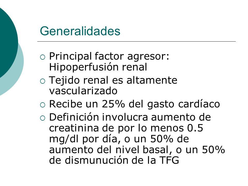 Generalidades Principal factor agresor: Hipoperfusión renal