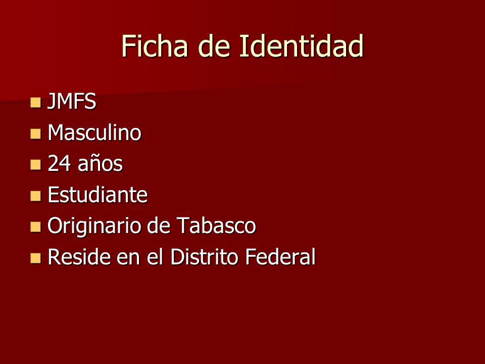Ficha de Identidad JMFS Masculino 24 años Estudiante