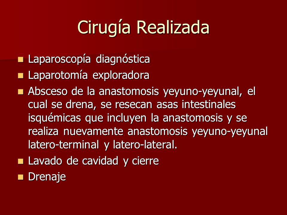 Cirugía Realizada Laparoscopía diagnóstica Laparotomía exploradora