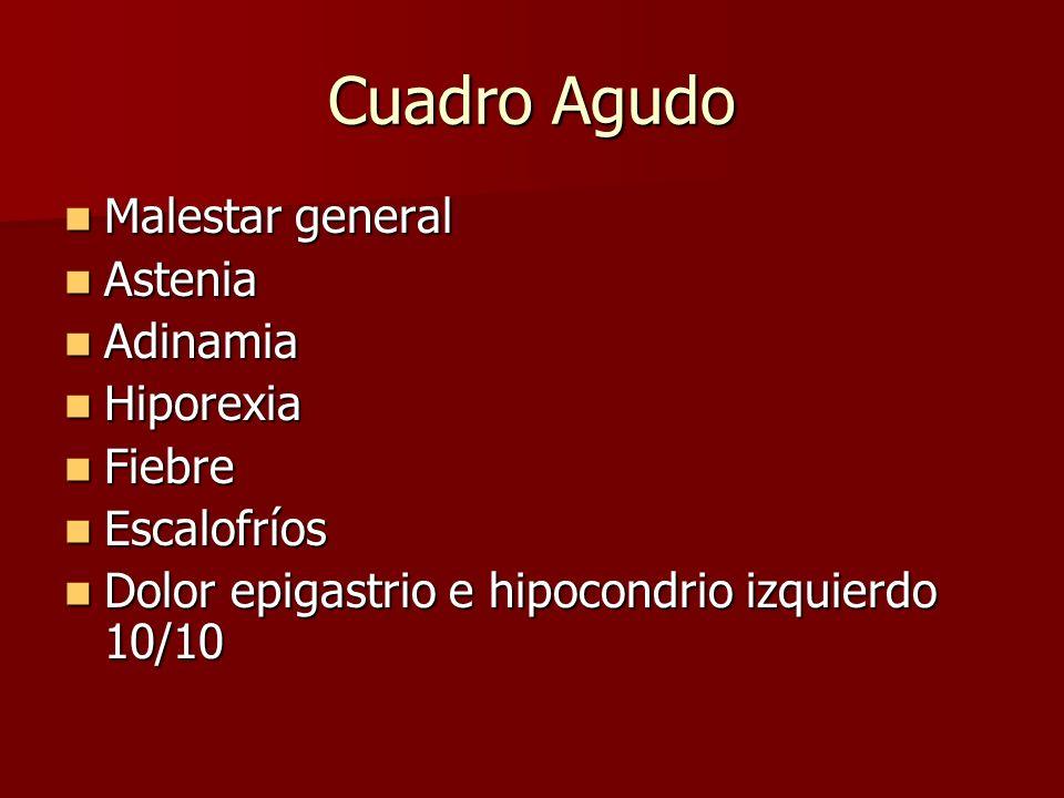 Cuadro Agudo Malestar general Astenia Adinamia Hiporexia Fiebre