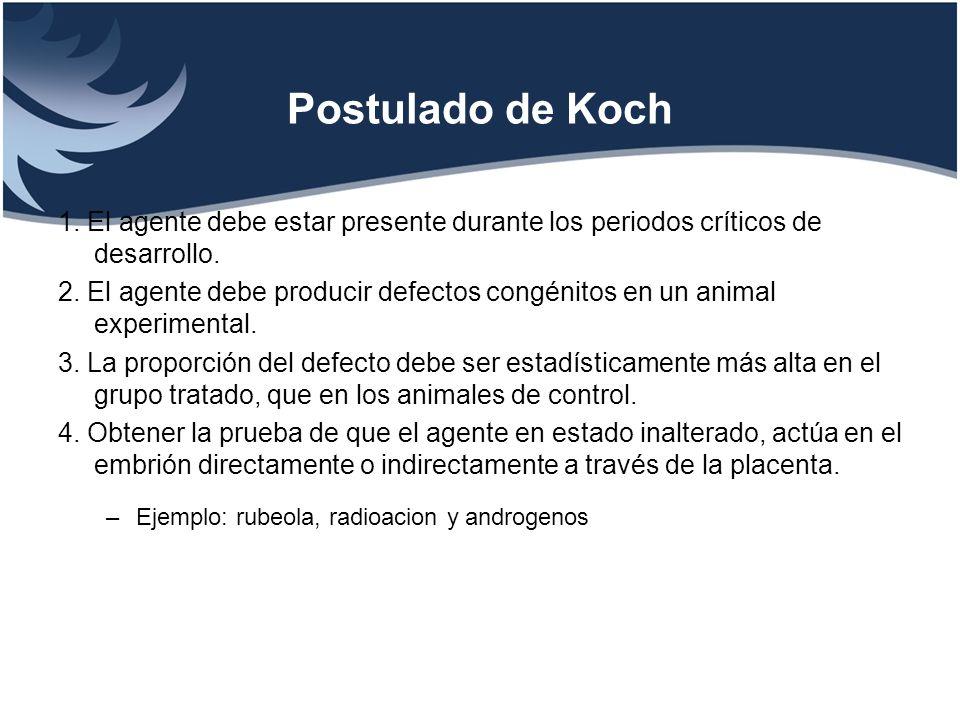 Postulado de Koch1. El agente debe estar presente durante los periodos críticos de desarrollo.