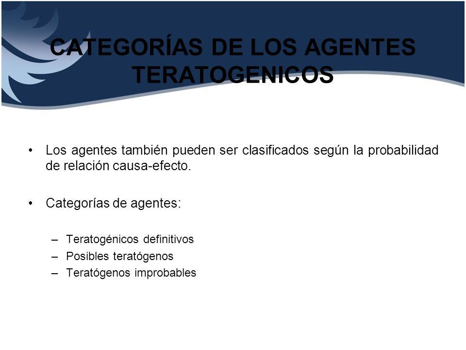 CATEGORÍAS DE LOS AGENTES TERATOGENICOS