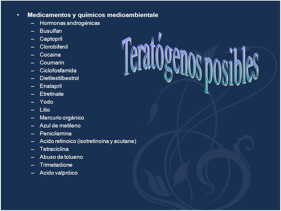 Teratógenos posibles Medicamentos y químicos medioambientale