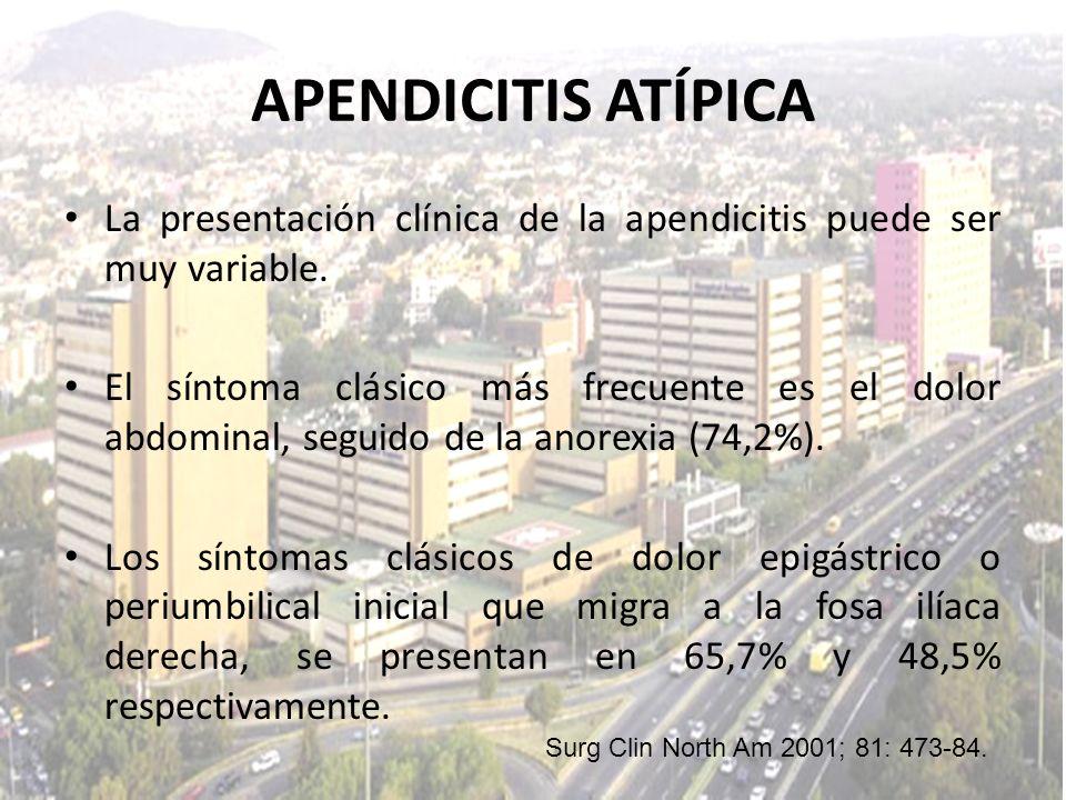 APENDICITIS ATÍPICA La presentación clínica de la apendicitis puede ser muy variable.