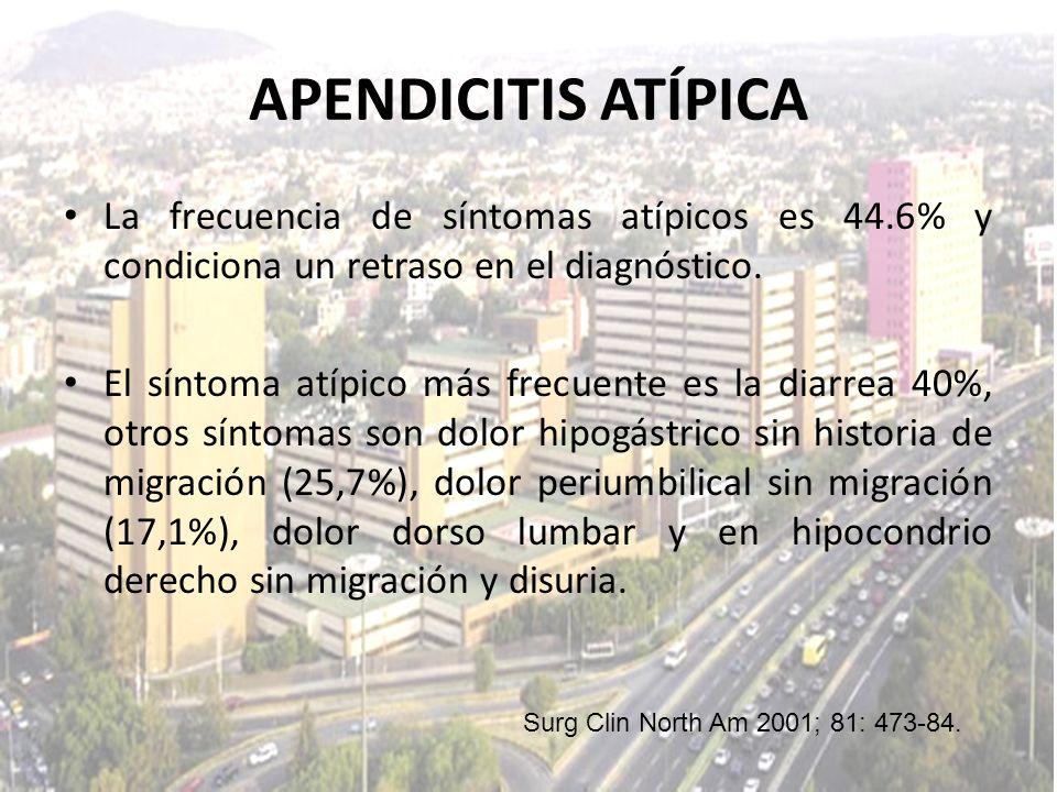 APENDICITIS ATÍPICA La frecuencia de síntomas atípicos es 44.6% y condiciona un retraso en el diagnóstico.