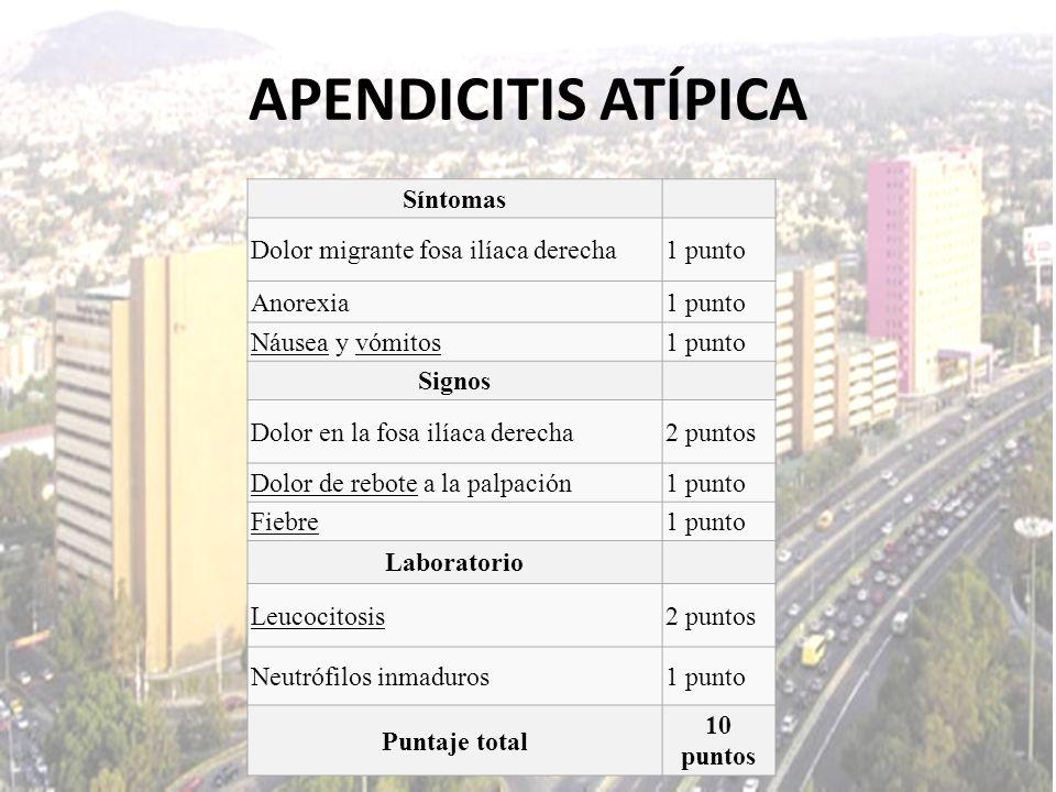 APENDICITIS ATÍPICA Síntomas Dolor migrante fosa ilíaca derecha