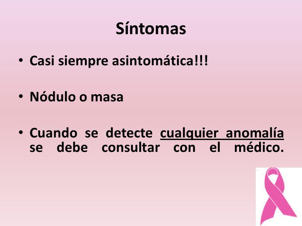 Síntomas Casi siempre asintomática!!! Nódulo o masa