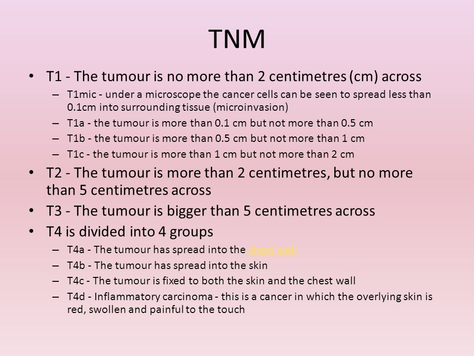 TNM T1 - The tumour is no more than 2 centimetres (cm) across