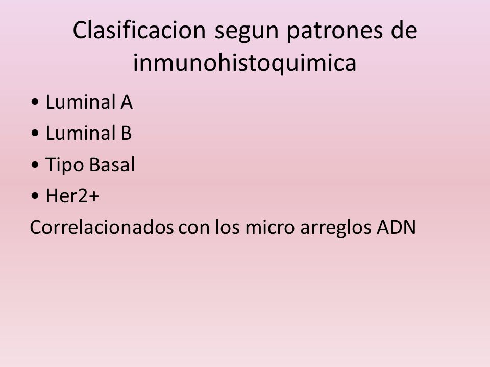 Clasificacion segun patrones de inmunohistoquimica