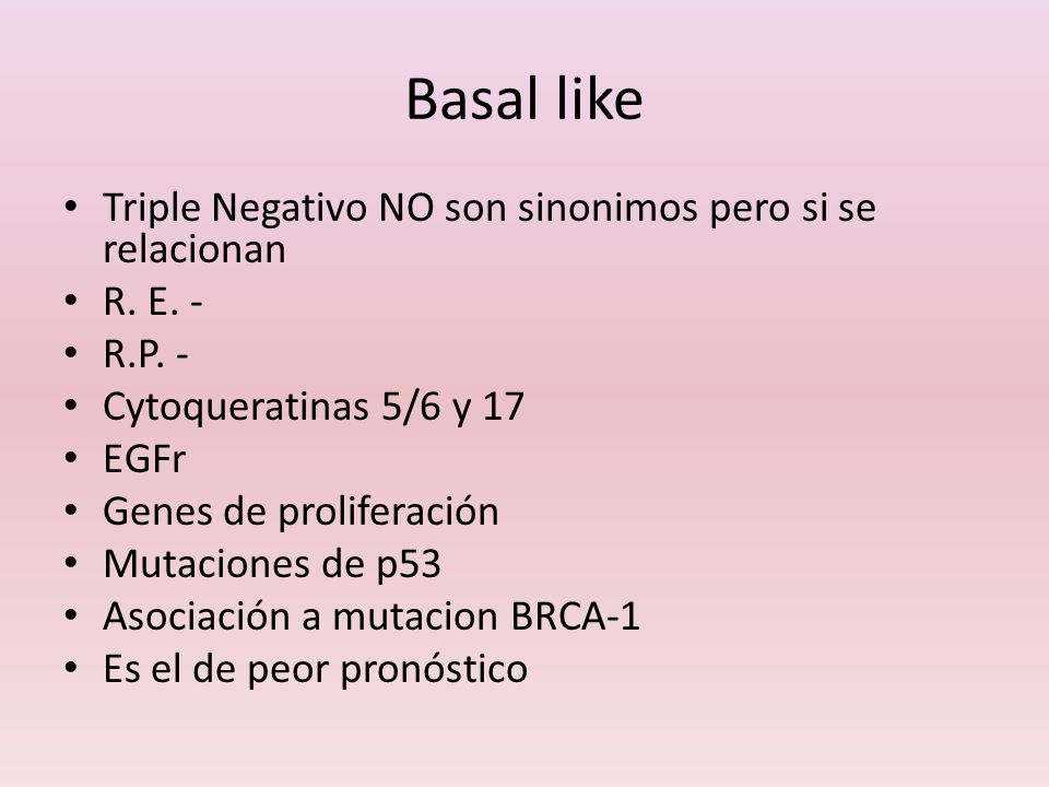 Basal like Triple Negativo NO son sinonimos pero si se relacionan
