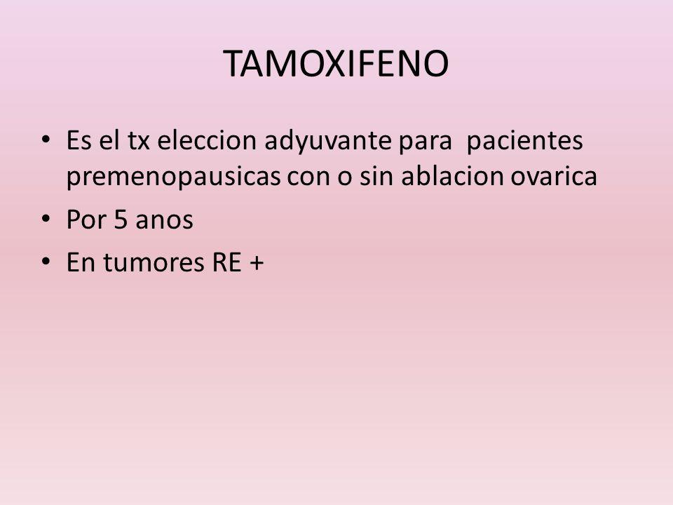 TAMOXIFENOEs el tx eleccion adyuvante para pacientes premenopausicas con o sin ablacion ovarica. Por 5 anos.