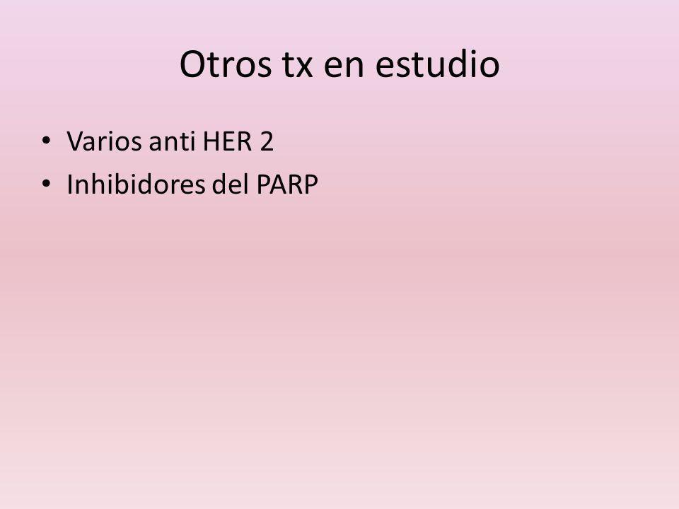 Otros tx en estudio Varios anti HER 2 Inhibidores del PARP