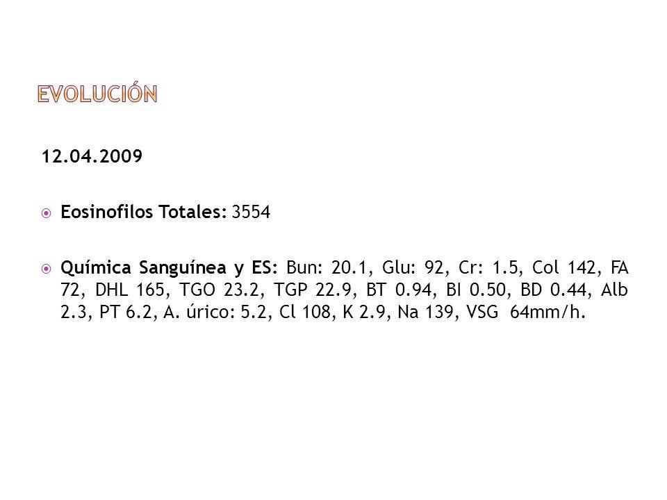 Evolución 12.04.2009 Eosinofilos Totales: 3554