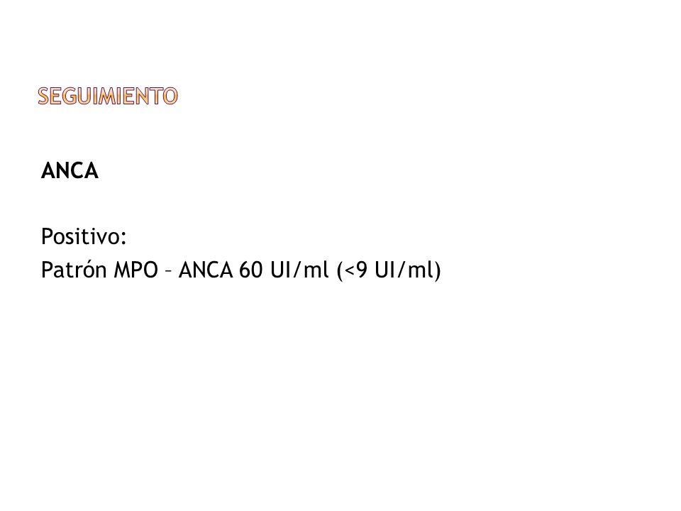 Seguimiento ANCA Positivo: Patrón MPO – ANCA 60 UI/ml (<9 UI/ml)