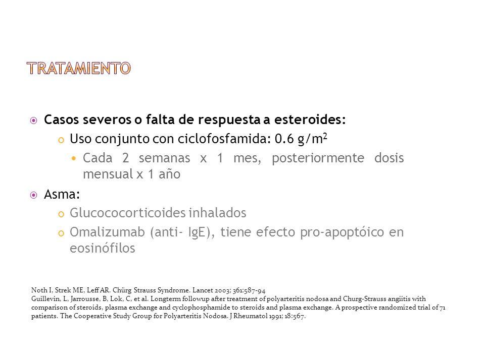tratamiento Casos severos o falta de respuesta a esteroides: