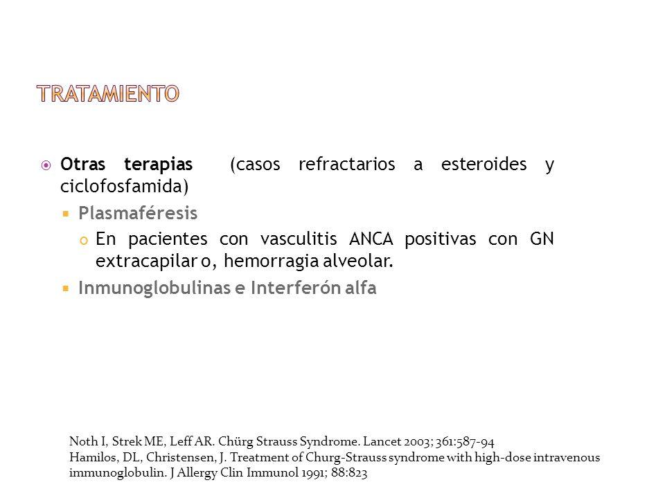 Tratamiento Otras terapias (casos refractarios a esteroides y ciclofosfamida) Plasmaféresis.