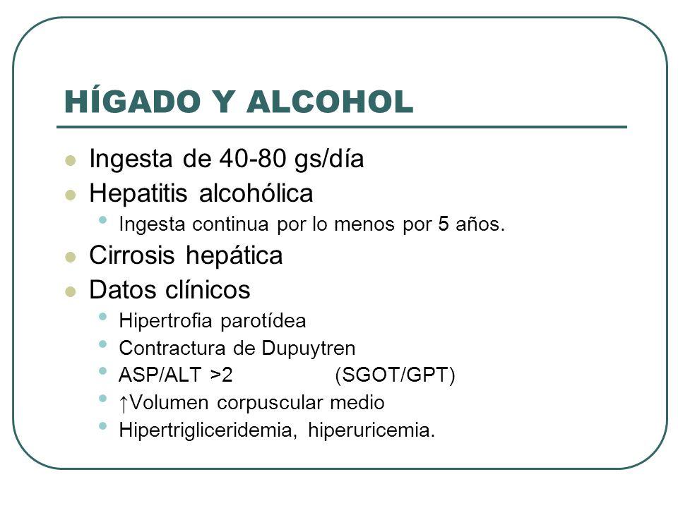 HÍGADO Y ALCOHOL Ingesta de 40-80 gs/día Hepatitis alcohólica