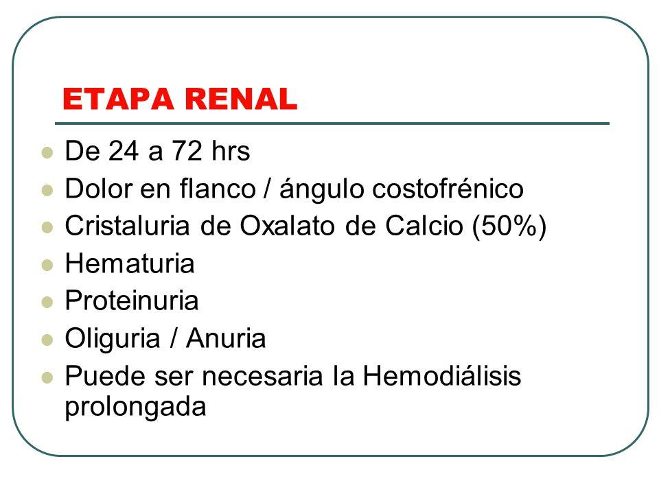ETAPA RENAL De 24 a 72 hrs Dolor en flanco / ángulo costofrénico