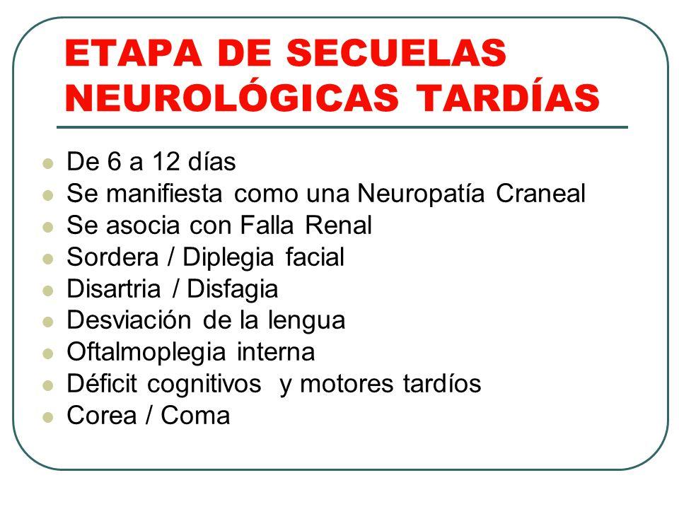ETAPA DE SECUELAS NEUROLÓGICAS TARDÍAS