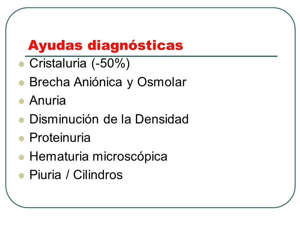 Ayudas diagnósticas Cristaluria (-50%) Brecha Aniónica y Osmolar