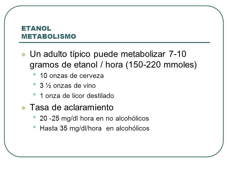 ETANOL METABOLISMO Un adulto típico puede metabolizar 7-10 gramos de etanol / hora (150-220 mmoles)