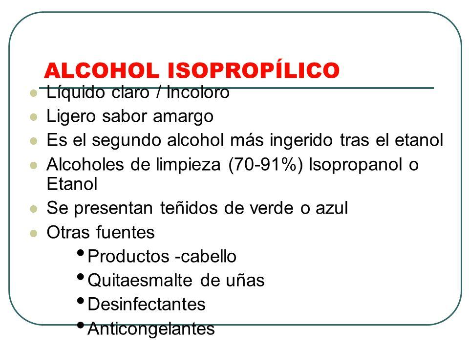 ALCOHOL ISOPROPÍLICO Líquido claro / Incoloro Ligero sabor amargo
