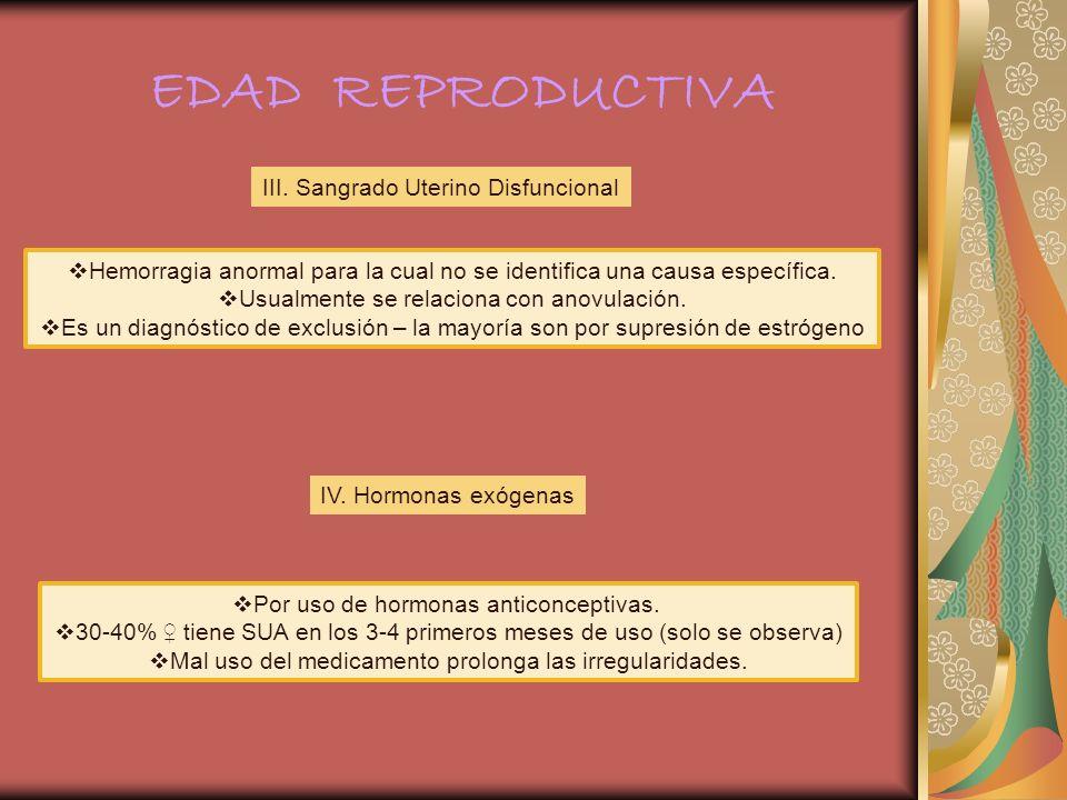EDAD REPRODUCTIVA III. Sangrado Uterino Disfuncional