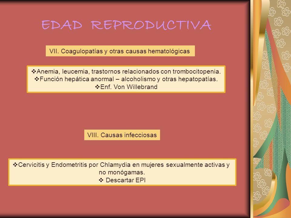 EDAD REPRODUCTIVA VII. Coagulopatías y otras causas hematológicas