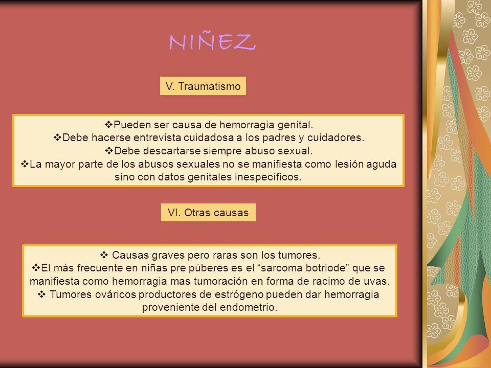 NIÑEZ V. Traumatismo Pueden ser causa de hemorragia genital.