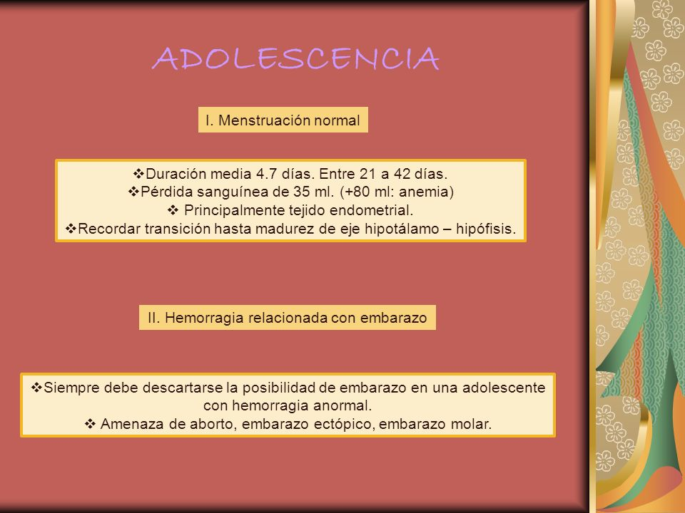 ADOLESCENCIA I. Menstruación normal