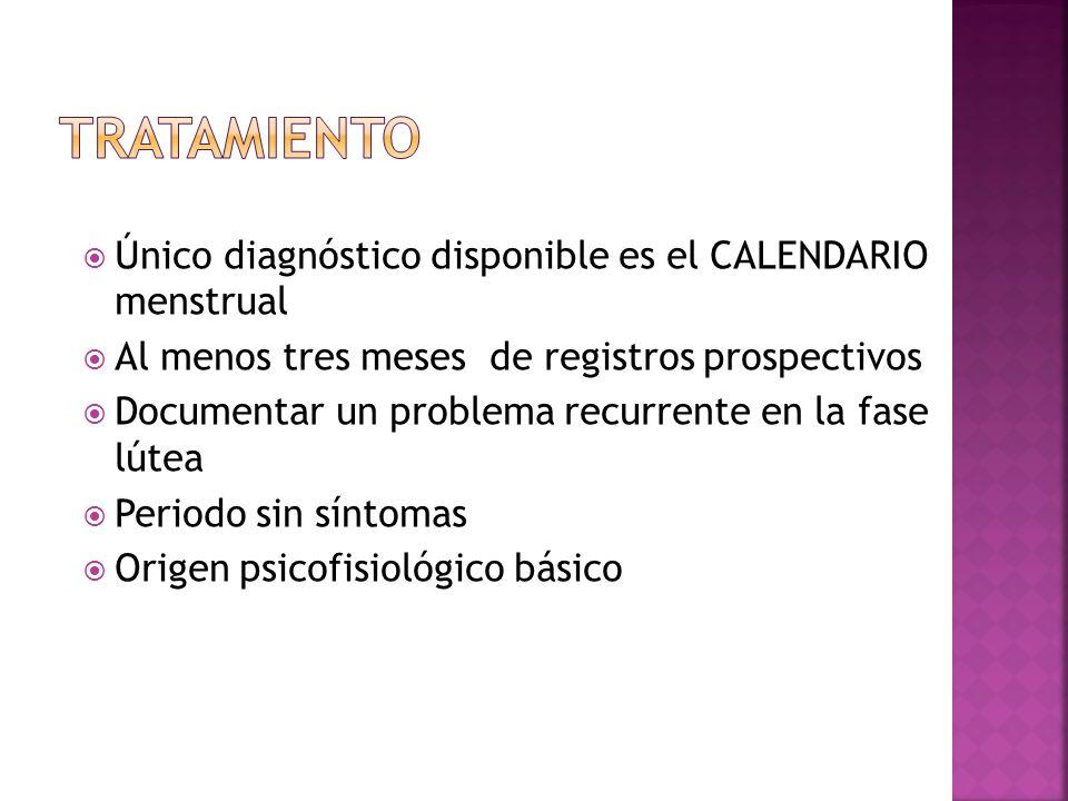 TRATAMIENTO Único diagnóstico disponible es el CALENDARIO menstrual