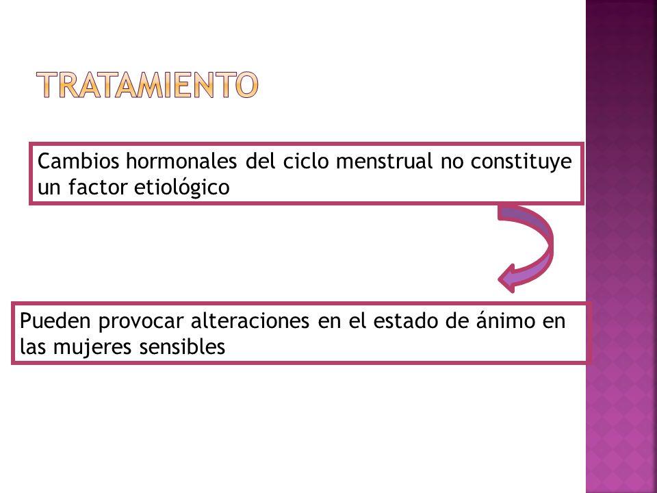 TRATAMIENTO Cambios hormonales del ciclo menstrual no constituye un factor etiológico.