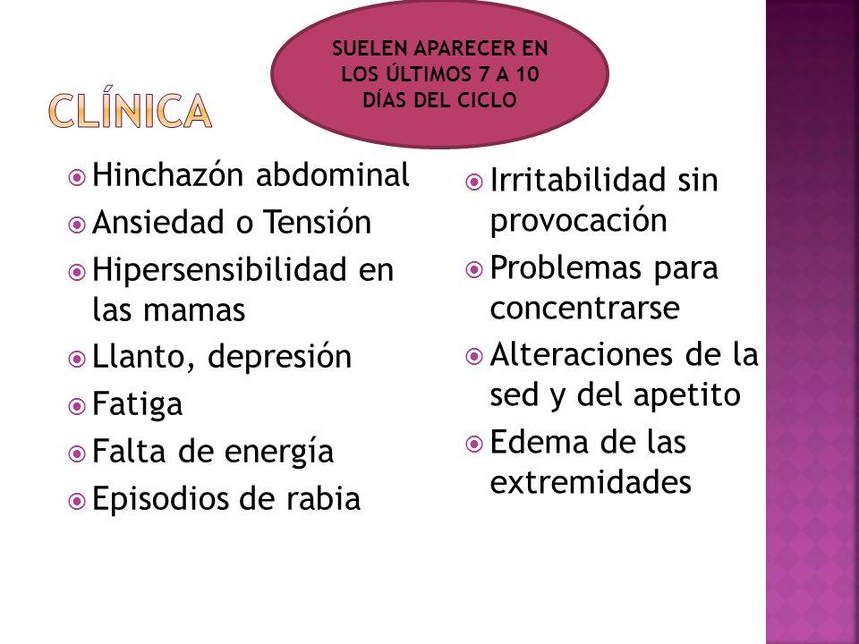 SUELEN APARECER EN LOS ÚLTIMOS 7 A 10 DÍAS DEL CICLO