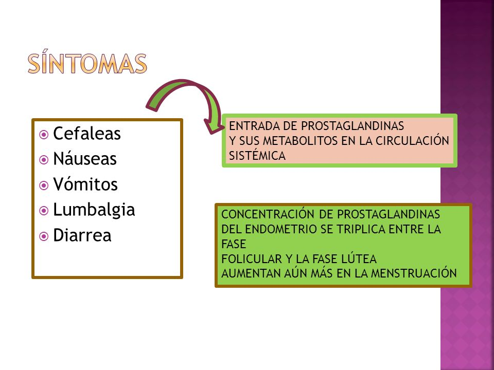 SÍNTOMAS Cefaleas Náuseas Vómitos Lumbalgia Diarrea