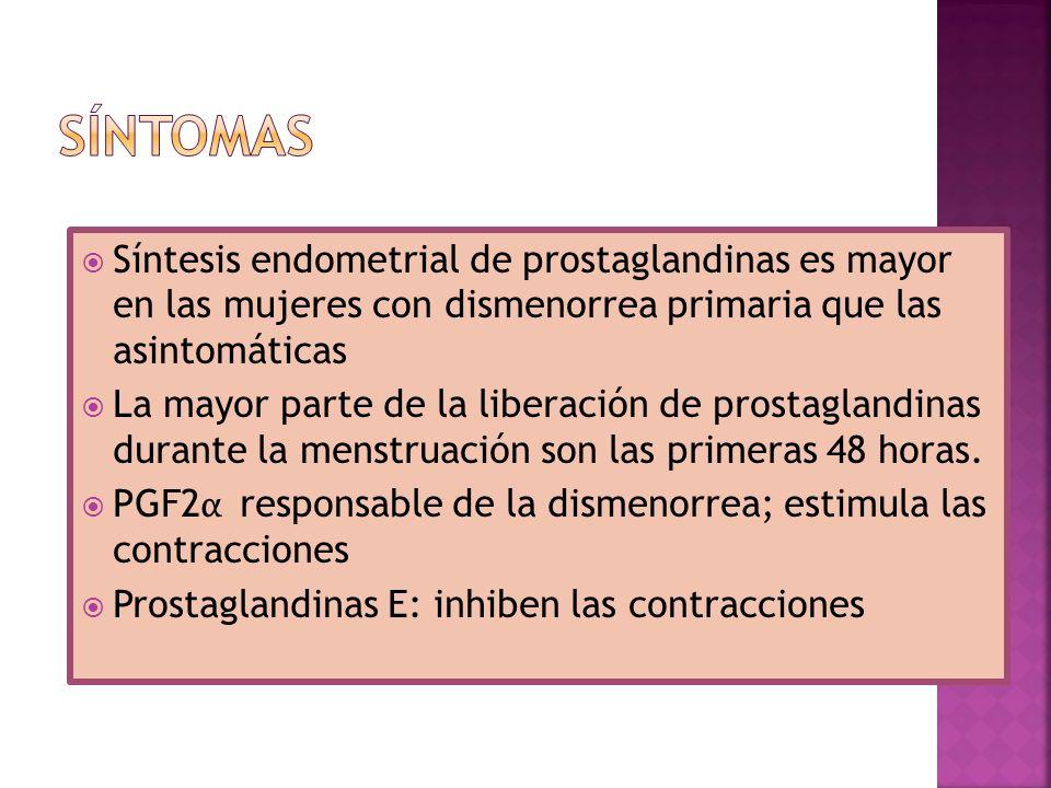 SÍNTOMAS Síntesis endometrial de prostaglandinas es mayor en las mujeres con dismenorrea primaria que las asintomáticas.