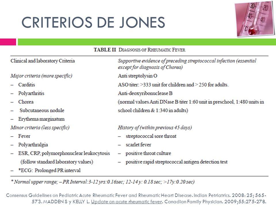 CRITERIOS DE JONES Cultivo de expectoración . Prueba rápida estreptococo. Antiestreptolisina O. Tasa de sedimentación eritrocitaria.