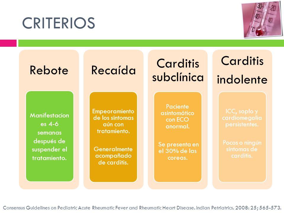 CRITERIOS Rebote. Recaída. Empeoramiento de los síntomas aún con tratamiento. Generalmente acompañado de carditis.