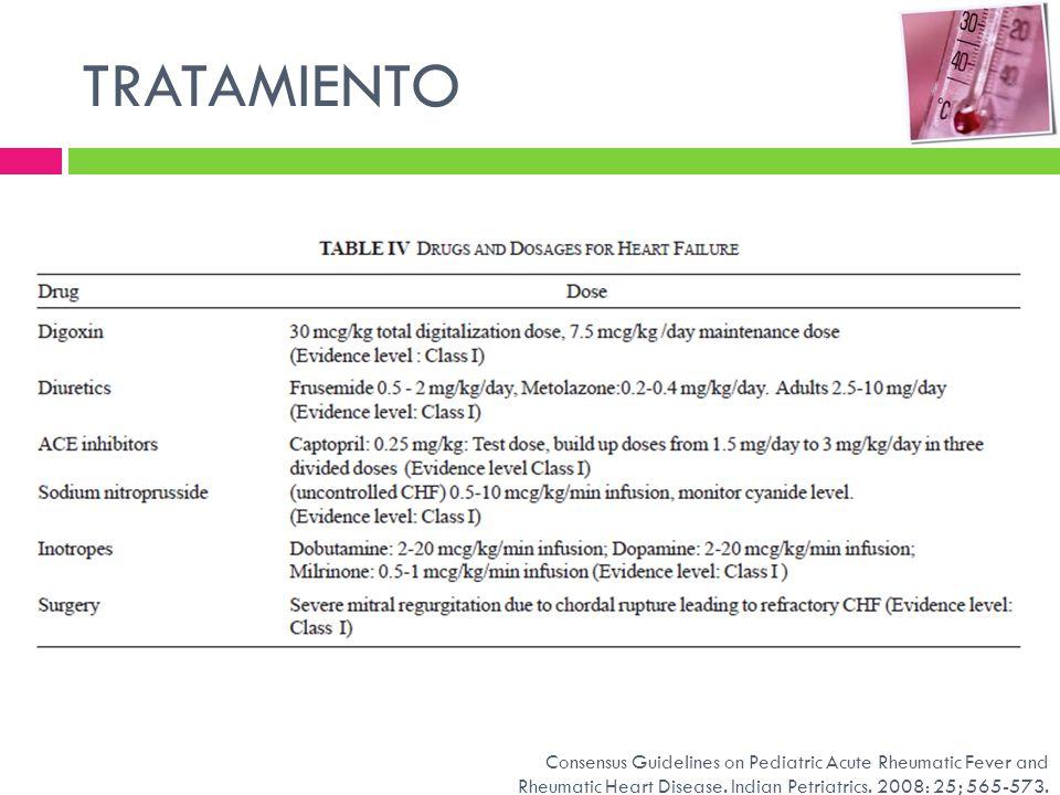 TRATAMIENTOConsensus Guidelines on Pediatric Acute Rheumatic Fever and Rheumatic Heart Disease.
