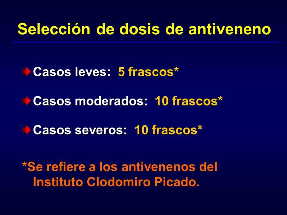 Selección de dosis de antiveneno