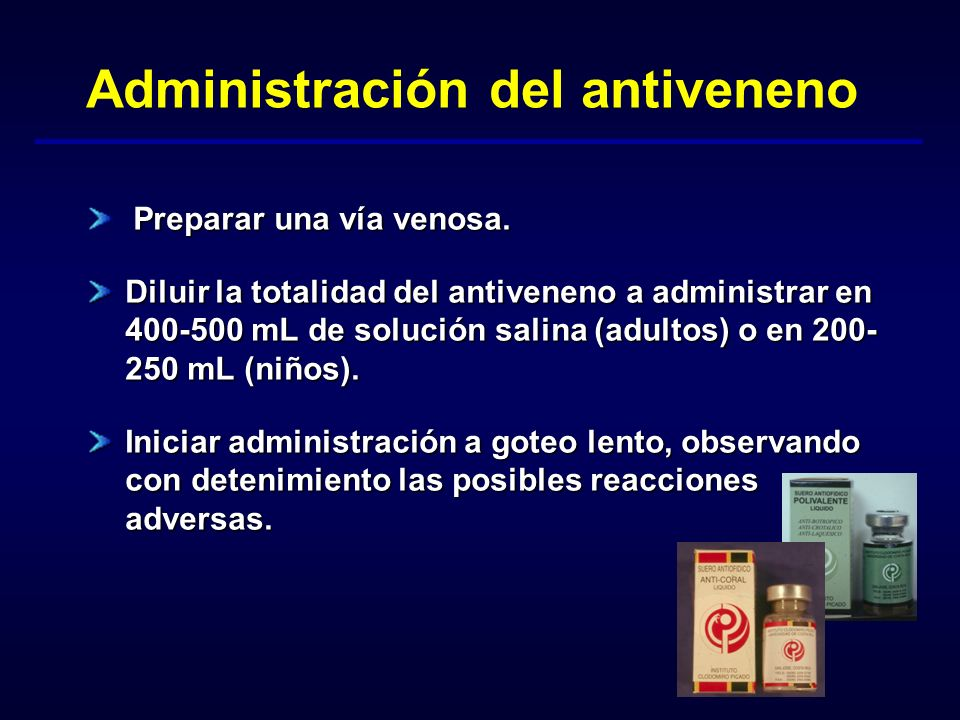Administración del antiveneno