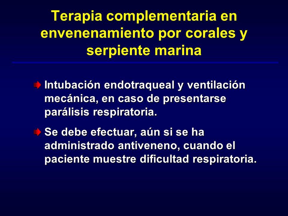 Terapia complementaria en envenenamiento por corales y serpiente marina