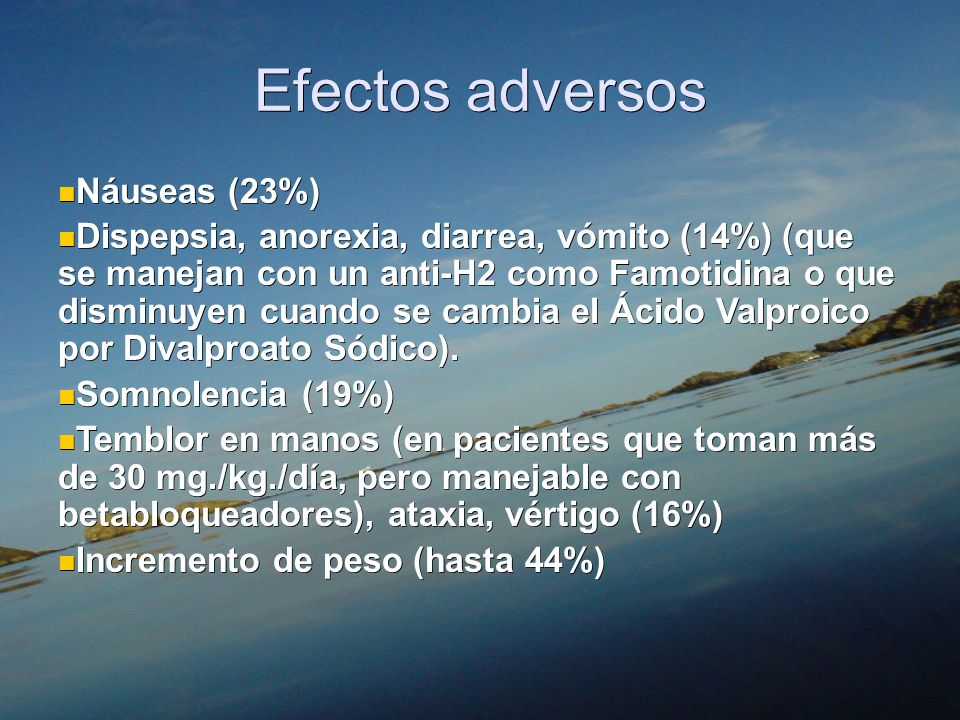 Efectos adversos Náuseas (23%)