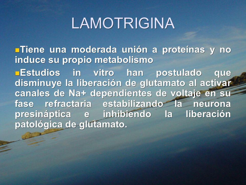 LAMOTRIGINA Tiene una moderada unión a proteínas y no induce su propio metabolismo.