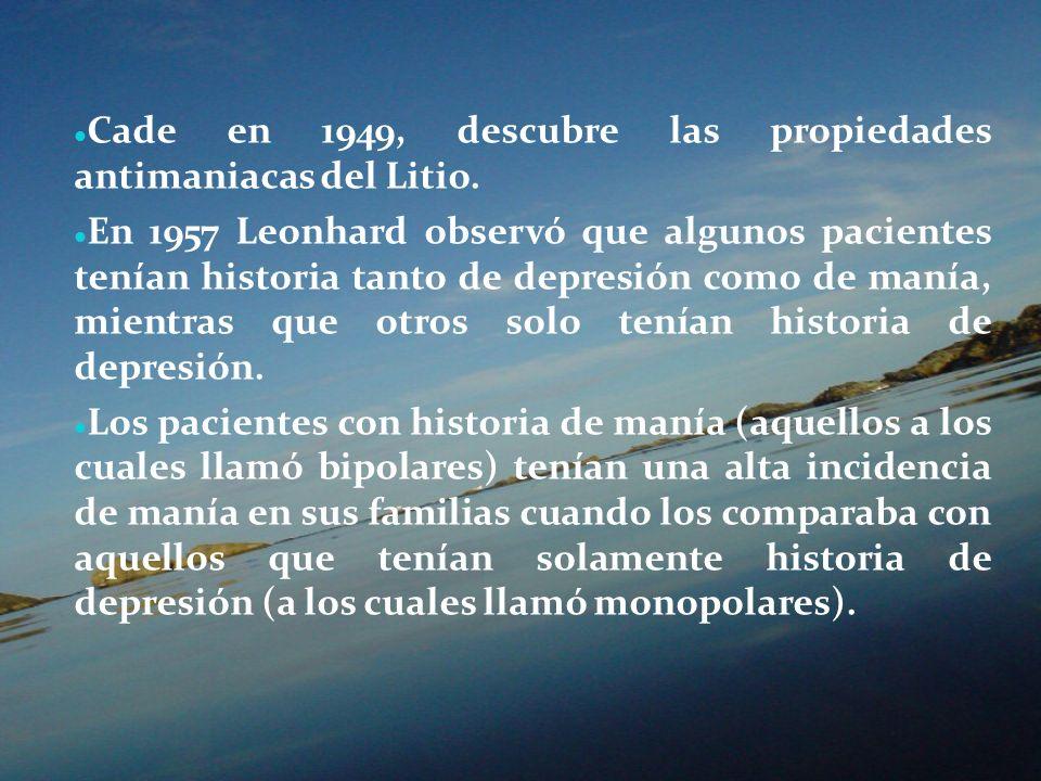 Cade en 1949, descubre las propiedades antimaniacas del Litio.
