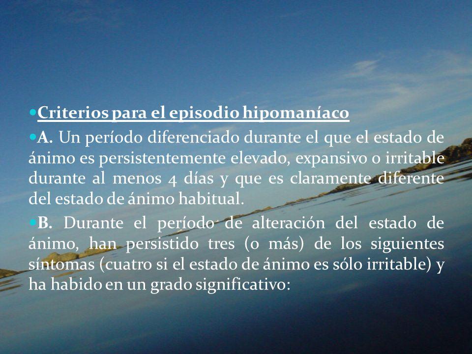Criterios para el episodio hipomaníaco